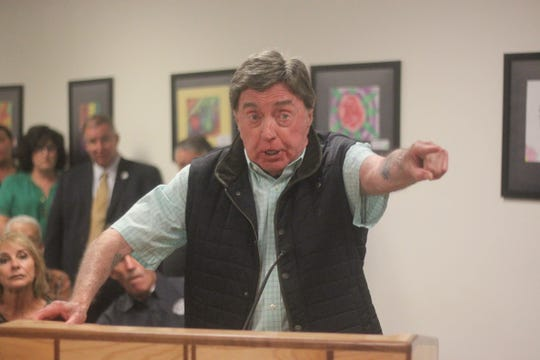 Attorney Dick Blenden defends District Judge Lisa Riley during a School Board meeting from accusations she made a racist comment to Carlsbad High School Principal Adam Amador, Sept. 26.