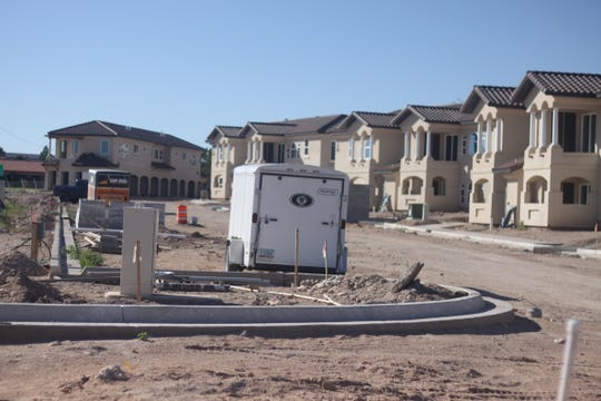 An apartment complex being built, Sept. 24 in Carlsbad.