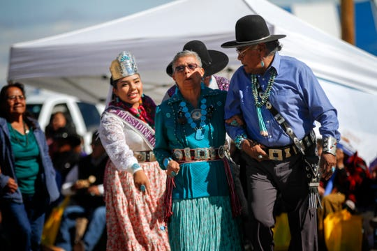 Participants take part in the Elderfest Song and Dance activity Thursday during the Northern Navajo Nation Fair in Shiprock.
