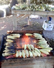 Corn stalks are piled on a table waiting for their turn on the roasting grill.