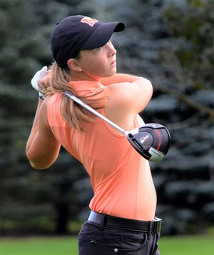 Northville's Nicole Whatley shot a 4-under 68 to repeat as individual medalist at the KLAA girls golf tourney Oct. 4 at Salem Hills G.C.