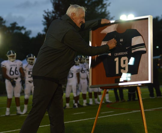 Cranbrook administrators had a jersey retirement ceremony for acclaimed graduate Pete Dawkins (1955) during the recent homecoming game.