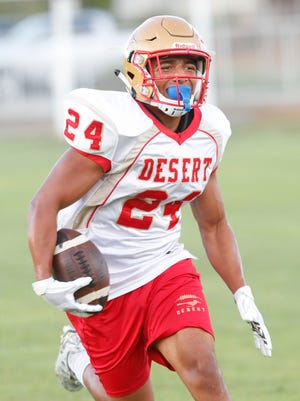 Tony Williams Jr., of College of the Desert during a practice at the college on October 3, 2018.