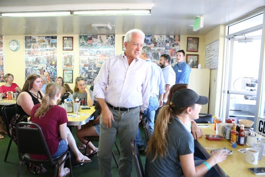 09/30/18 Taya Gray, Special to The Desert SunRepublican gubernatorial candidate John Cox greets diners at Keedy's Fountain Grill in Palm Desert on Sunday, September 30, 2018.