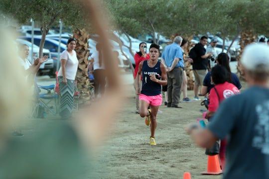 La Quinta's Raen Reyes wins the varsity boys race on Wednesday, October 3, 2018 during a Desert Empire League cross country race at Xavier Prep in Palm Desert.