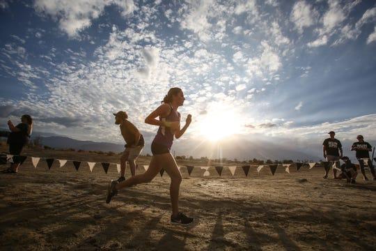 La Quinta's Emmi Von Scherr wins the girls varsity race on Wednesday, October 3, 2018 during a Desert Empire League cross country race at Xavier Prep in Palm Desert.