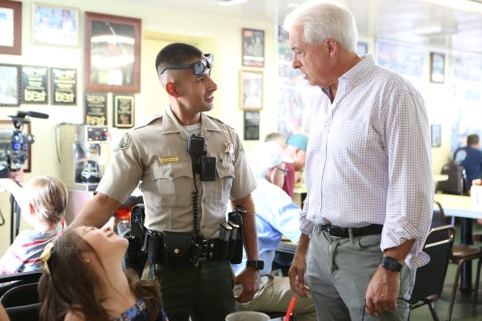 Republican gubernatorial candidate John Cox greets Coachella Valley residents at Keedy's Fountain Grill in Palm Desert on Sunday, September 30, 2018.