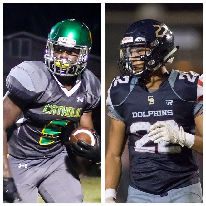 Pensacola Catholic's Ja'kobi Jackson (left) and Gulf Breeze's Christian Murphy are the PNJ Offensive and Defensive/Special Teams Players of the Week. (Oct. 4, 2018)