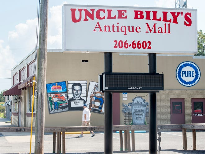 A Ted Bundy mural on the side of Uncle Billy's Antique Mall in Pensacola on Thursday, October 4, 2018.  The antique mall is located in the former Oscar's Restaurant building.  Serial killer Ted Bundy was apprehended outside of the restaurant in 1978.