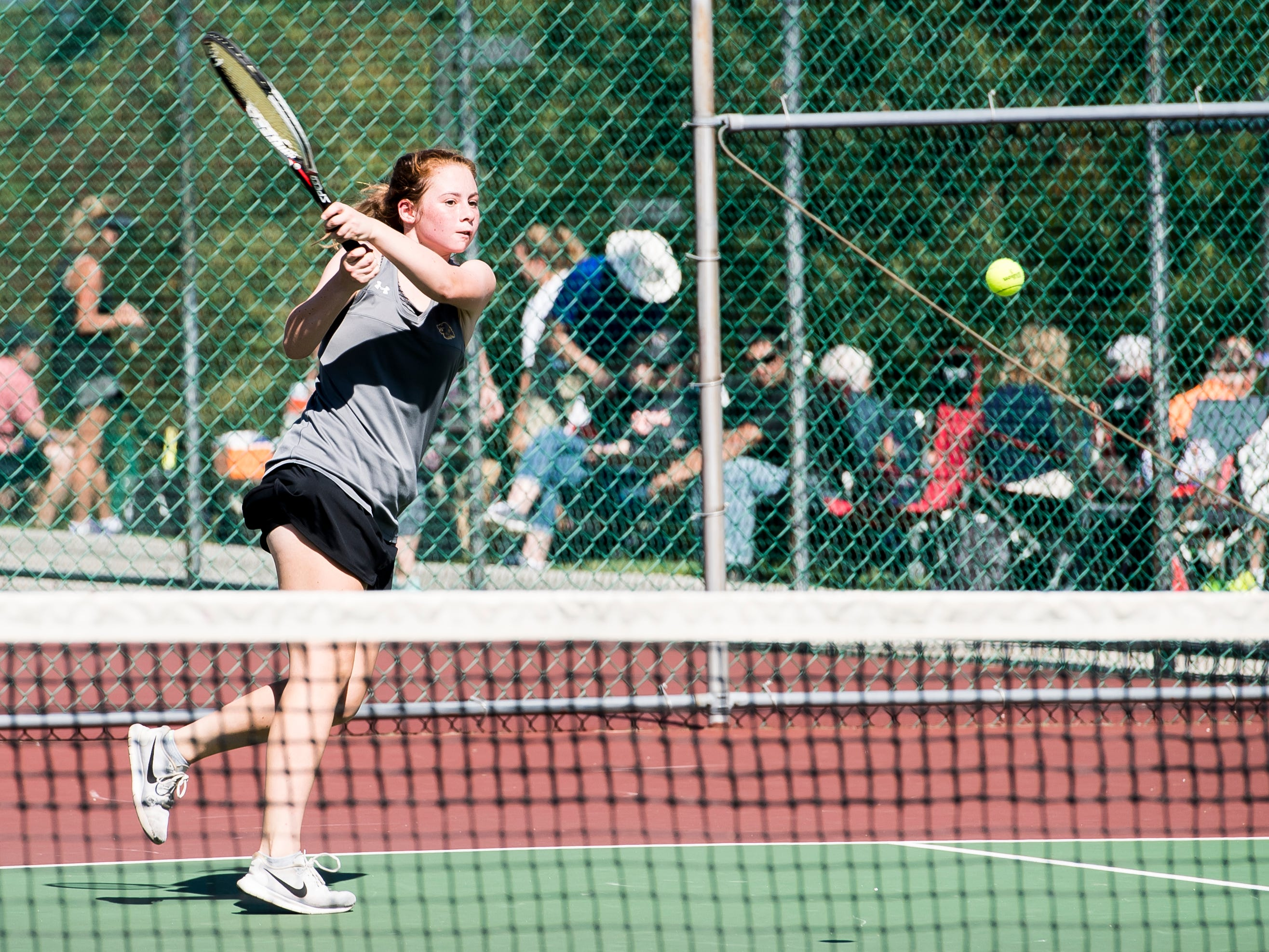 Red Lion's Sophie Lanius follows through on her swing during a first round match against York Suburban's Zoe Prats in the YAIAA 3A singles tournament on October 4, 2018. Sentz won 6-0, 6-0.