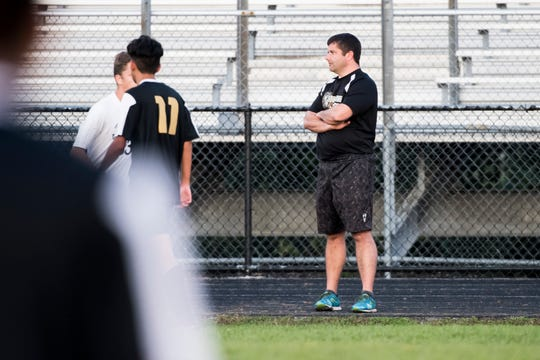 Biglerville boys soccer head coach Jebb Nelson watches from the sideline during a game against Delone Catholic in early October.
