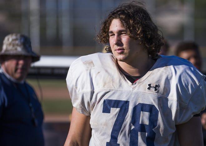 Desert Vista High School defensive lineman Brett Johnson waits his turn during practice at the school, Wednesday, October 3, 2018.