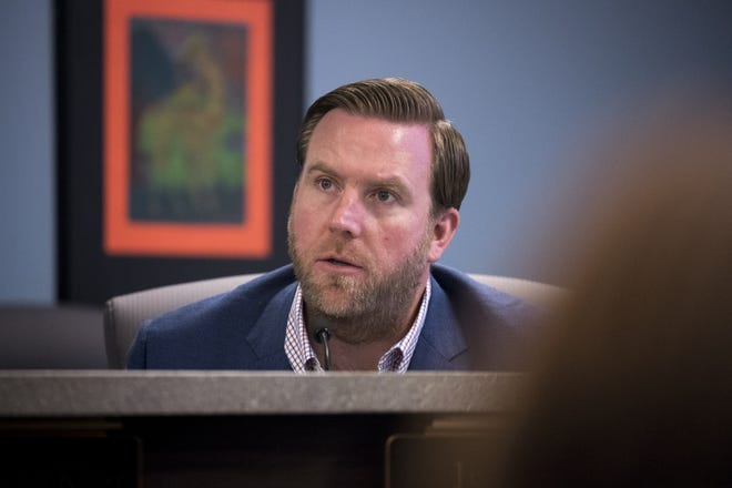 Erik Twist, a charter school operator, listens during an Arizona State Board for Charter Schools meeting on Sept. 10, 2018, at the Arizona Department of Education in Phoenix.