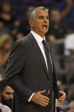 Suns coach Igor Kokoskov reacts during the first half of a game against the New Zealand Breakers on Wednesday at Talking Stick Resort Arena.