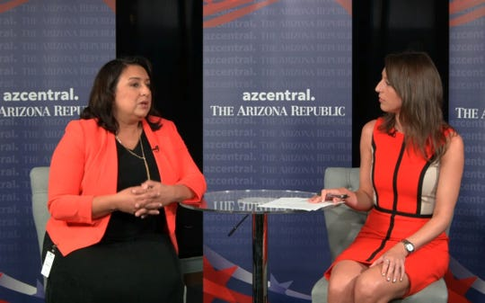 January Contreras, Arizona attorney general candidate, talks with Politics Reporter Maria Polletta at azcentral on Oct. 3, 2018.