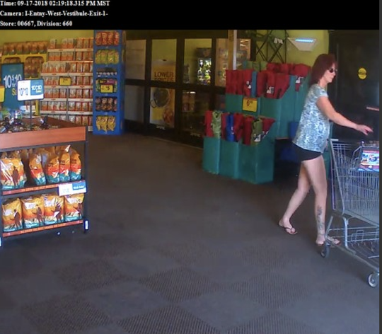 Officials are searching for a woman suspected of stealing a purse at a Litchfield Park Fry's Marketplace on Sept. 17, 2018.