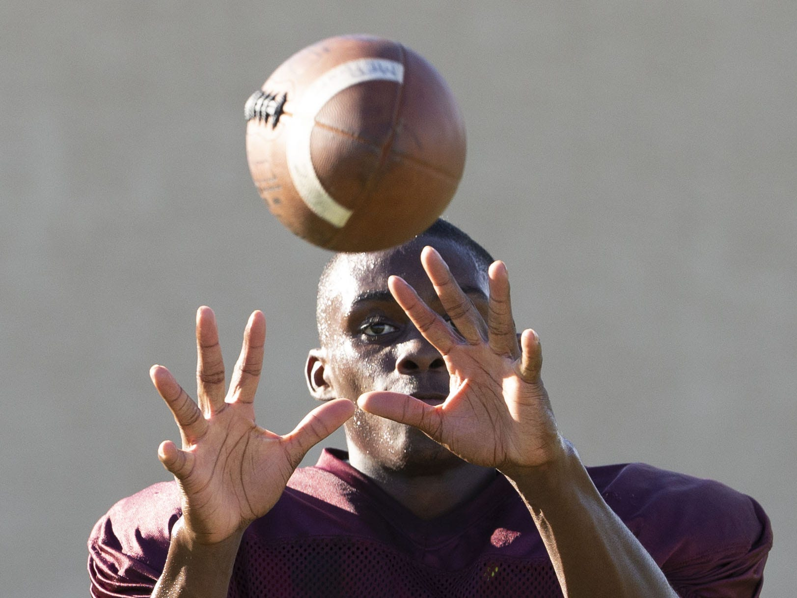 Mountain Pointe's wide receiver Dominique Davis runs a drill during practice in Phoenix on October 3, 2018.