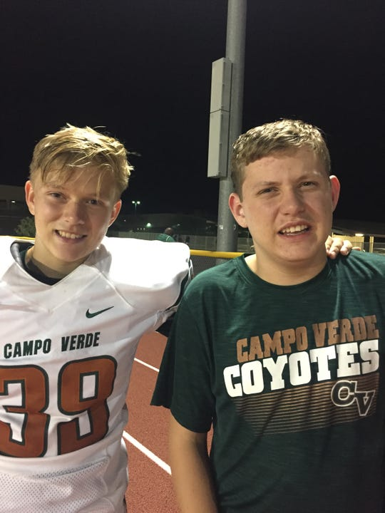 Gilbert Campo Verde's kicker/punter Jackson Passey, with his brother Nathan.