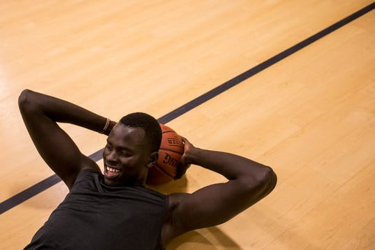 Chol Marial works out on Wednesday, Sept. 19, 2018, at AZ Compass Prep in Chandler, Ariz.