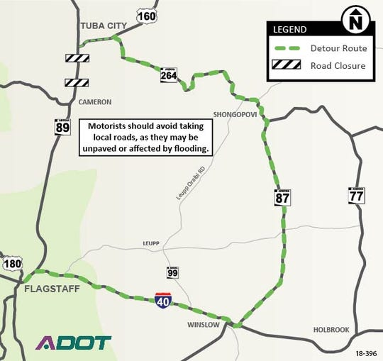 State Route 89 is expected to be closed for a while due to storm related damage to the roadway between Cameron and Tuba City.  ADOT is advising motorist to use alternate routes.