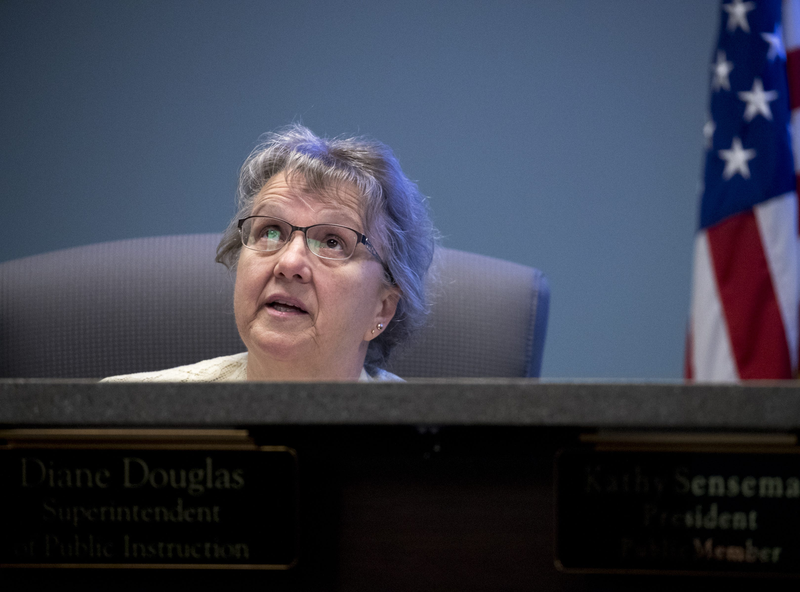 Diane Douglas, Arizona Superintendent of Public Instruction, talks during an Arizona State Board for Charter Schools meeting on Sept. 10, 2018, at the Arizona Department of Education in Phoenix.