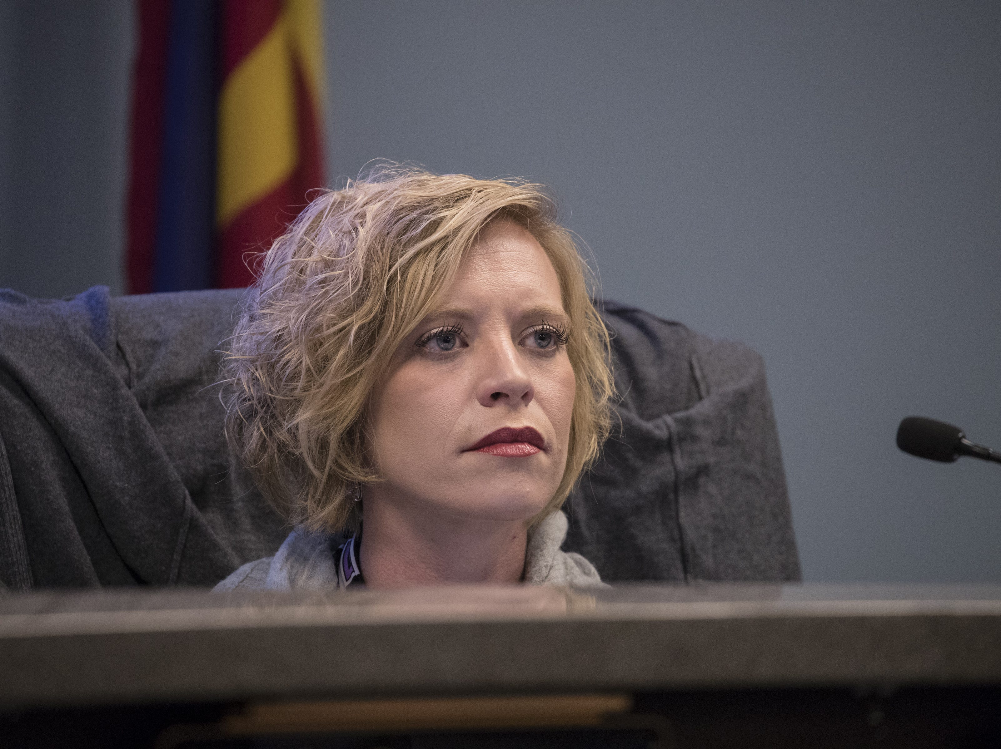 Rachel Yanof, vice President and public member, listens during an Arizona State Board for Charter Schools meeting on Sept. 10, 2018, at the Arizona Department of Education in Phoenix.