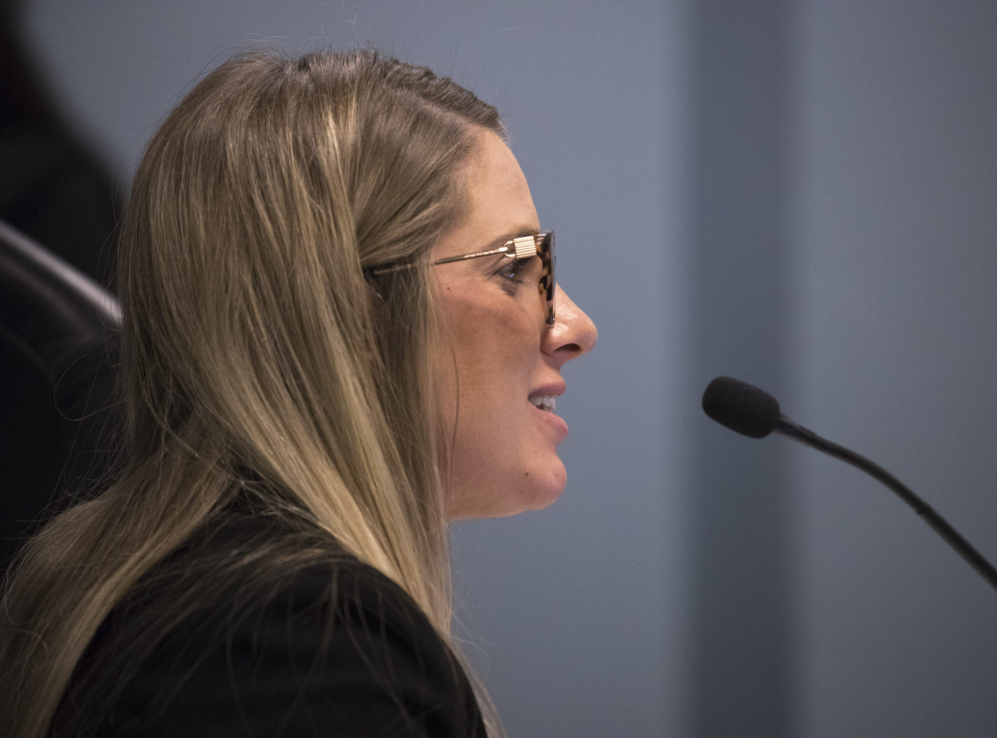 Ashley Berg, executive director, talks during an Arizona State Board for Charter Schools meeting on Sept. 10, 2018, at the Arizona Department of Education in Phoenix.