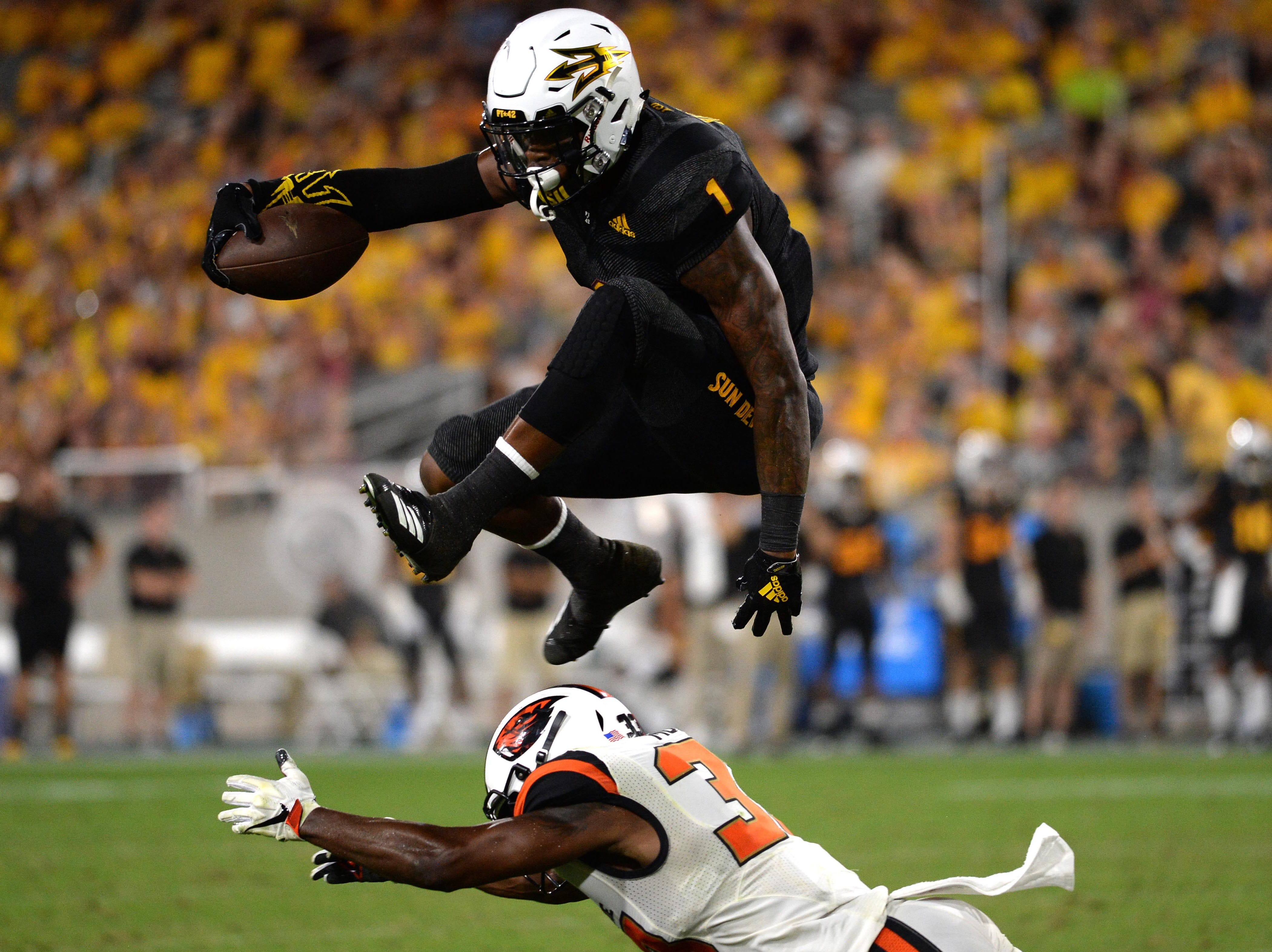 Arizona State Sun Devils wide receiver N'Keal Harry (1) is moving up NFL draft boards. Take a look at where he is projected to be picked in 2019 NFL mock drafts.