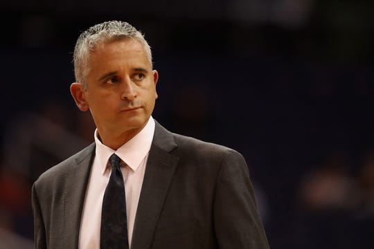PHOENIX, AZ - OCTOBER 03:  Head coach Igor Kokoskov of the Phoenix Suns reacts during the first half of the NBA game against the New Zealand Breakers at Talking Stick Resort Arena on October 3, 2018 in Phoenix, Arizona.  NOTE TO USER: User expressly acknowledges and agrees that, by downloading and or using this photograph, User is consenting to the terms and conditions of the Getty Images License Agreement.  (Photo by Christian Petersen/Getty Images)