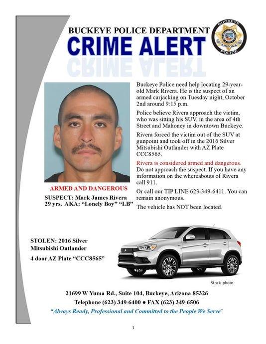 Buckeye Police Seek Carjacking Suspect