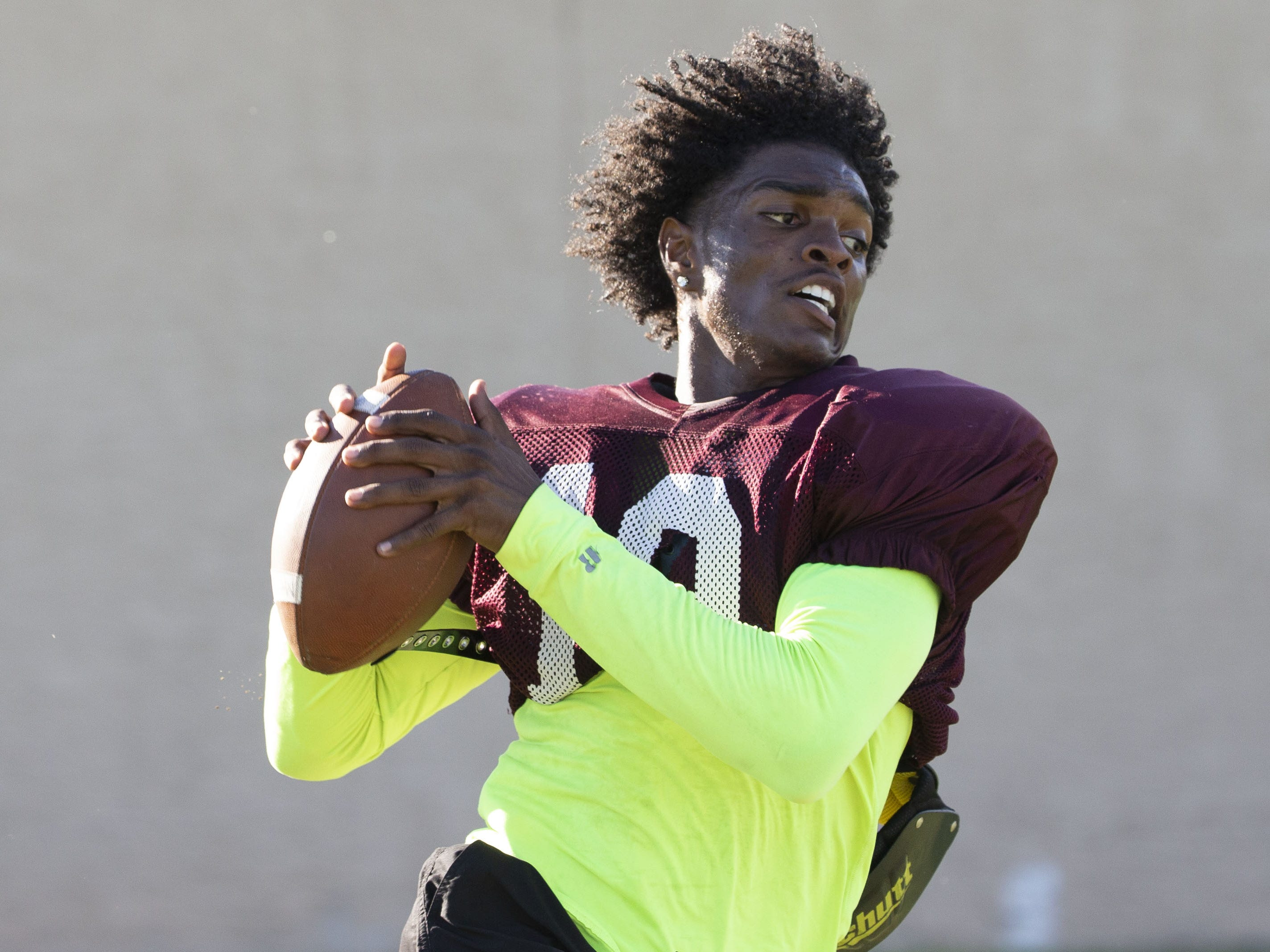 Mountain Pointe's wide receiver Ahmen Williams runs a drill during practice in Phoenix on October 3, 2018.