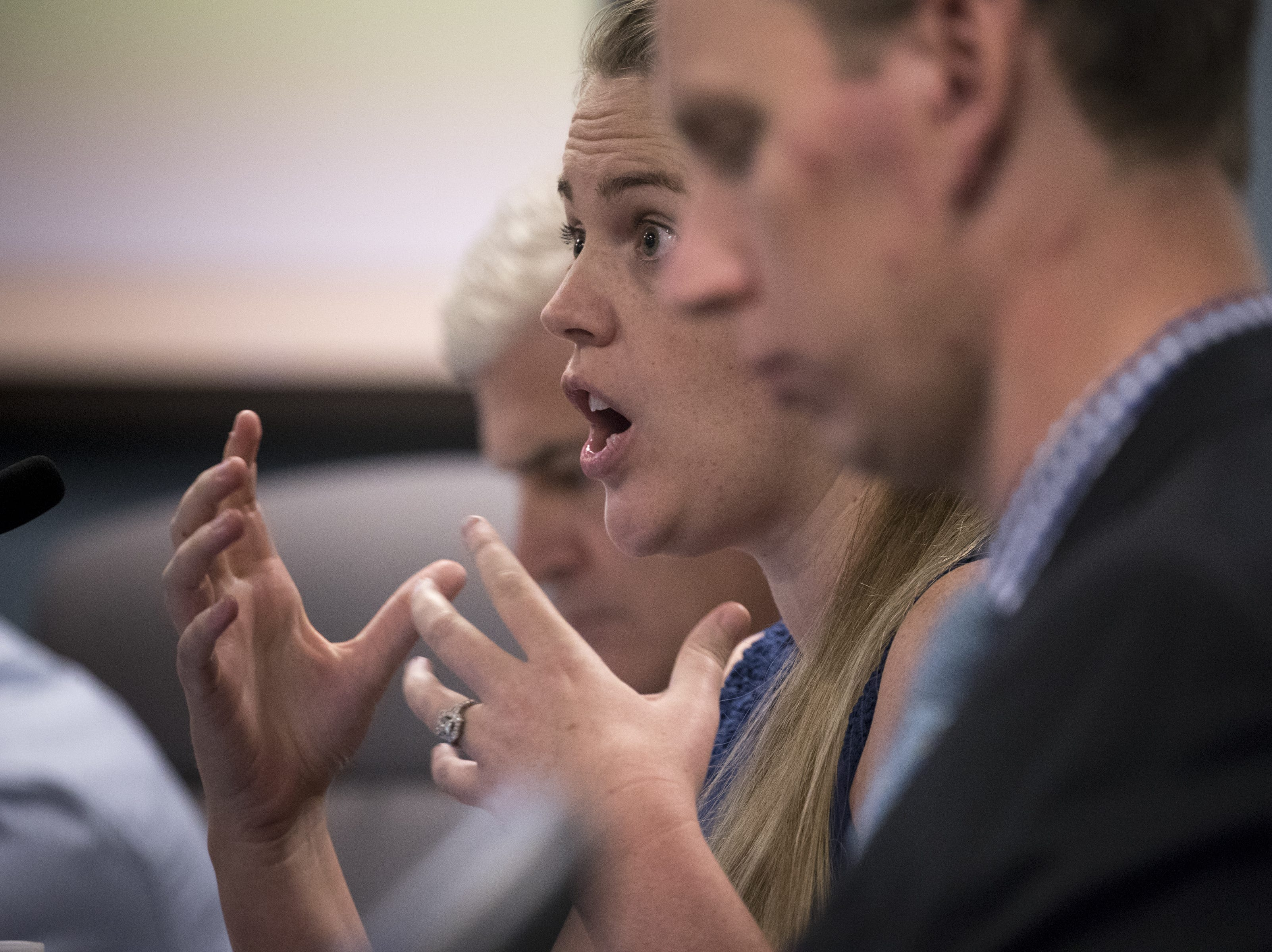 Mary Ellen Lee, a charter school teacher, asks a question during an Arizona State Board for Charter Schools meeting on Sept. 10, 2018, at the Arizona Department of Education in Phoenix.