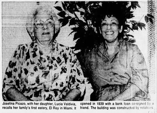 A photo of Josefina Picazo and daughter Lucia Valdivia from an article in The Arizona Republic in 1985. Valdivia's son, Danny, now operates Los Comprades.