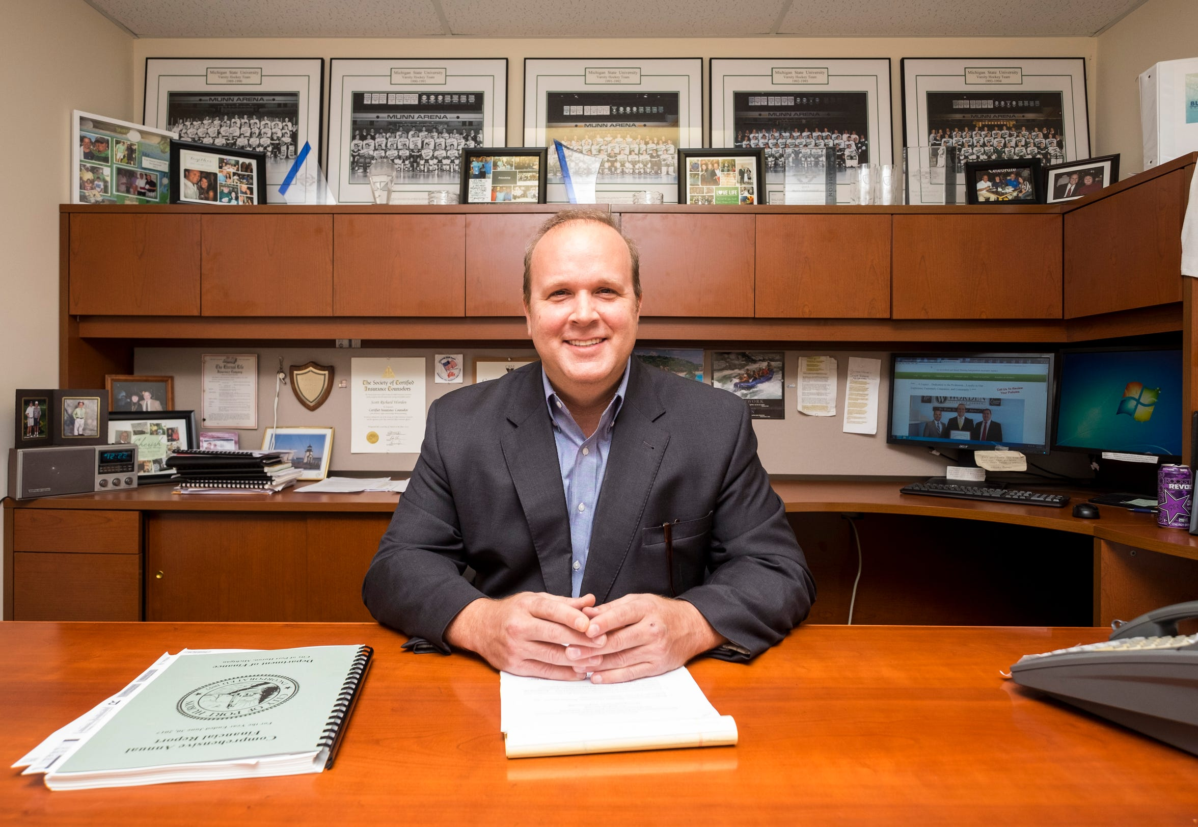Port Huron City Councilman Scott Worden, pictured in his office on Wednesday, Oct. 3, 2018, at Word Insurance in Marysville, is among the four candidates running for mayor. He's also the third sitting council member — after Alan Lewandowski and the late Brian Moeller — to challenge incumbent Pauline Repp during her tenure.