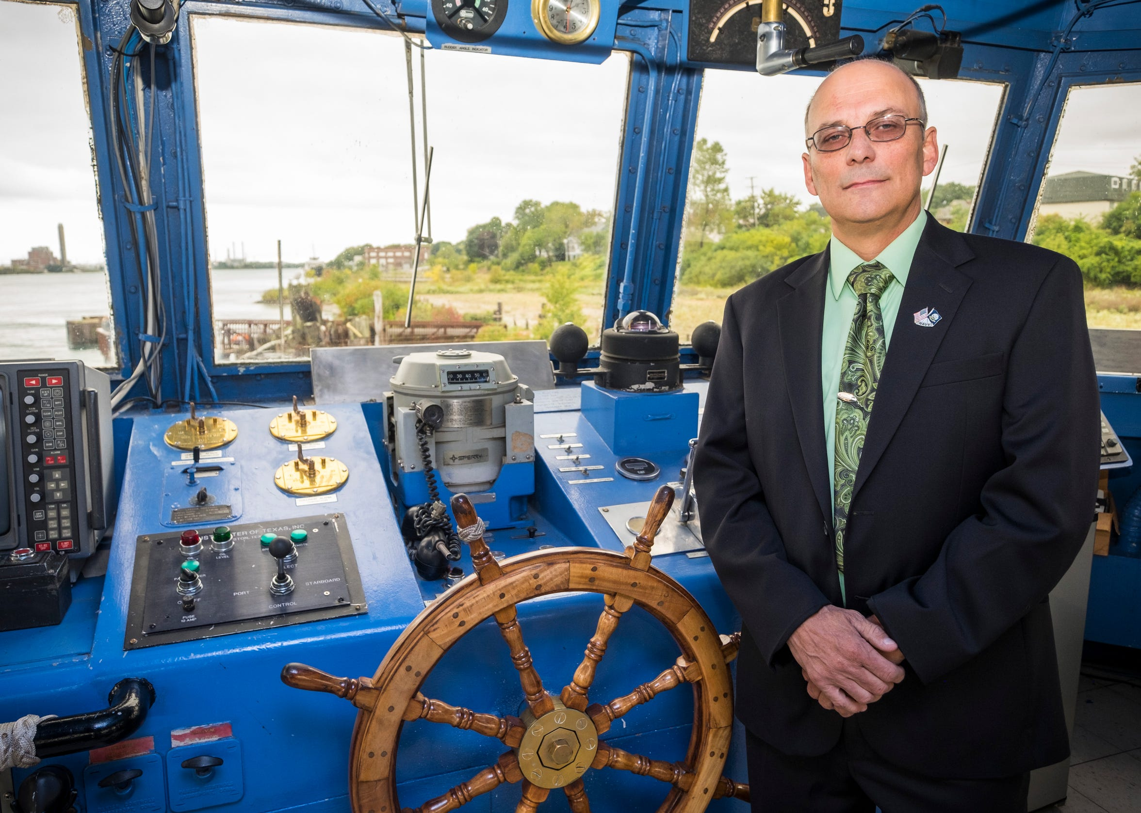 Garth Gurnsey, one of three challengers against Mayor Pauline Repp in Port Huron's city election Nov. 6, stands aboard the NSCS Gray Fox on Tuesday, Oct. 2, 2018, in Port Huron. He has previously ran unsuccessfully for mayor seven years ago.