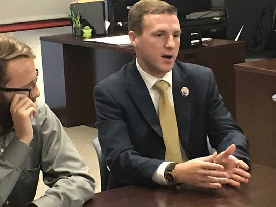 Evan Redding talks during a meeting. Shippensburg University Student Government students spoke about the upcoming general elections during a meeting on campus, Thursday, Oct. 4, 2018