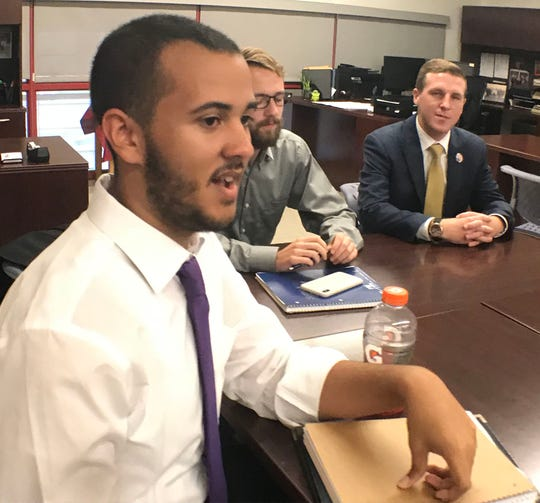 Student Aven Bittinger talks about his political views during a meeting on campus. Shippensburg University Student Government students spoke about the upcoming general elections during a meeting a on campus, Thursday, Oct. 4, 2018.