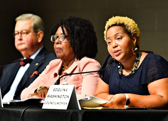 York City Council members, from left, President Henry Nixon, Judy Ritter-Dixon and Edquina Washington participate in a York City Council town hall meeting at Logos Academy in York City, Wednesday, Oct. 3, 2018. Dawn J. Sagert photo