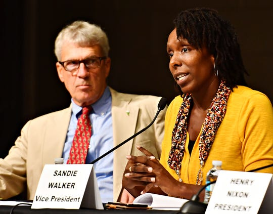 York City Council members, from left, H. Michael Buckingham and Vice President Sandie Walker during a York City Council Town Hall Meeting at Logos Academy in York City, Wednesday, Oct. 3, 2018. Dawn J. Sagert photo