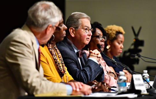 York City Council members, from left, H. Michael Buckingham, Vice President Sandie Walker, President Henry Nixon, Judy Ritter-Dixon and Edquina Washington take the stage during a York City Council Town Hall Meeting at Logos Academy in York City, Wednesday, Oct. 3, 2018. Dawn J. Sagert photo