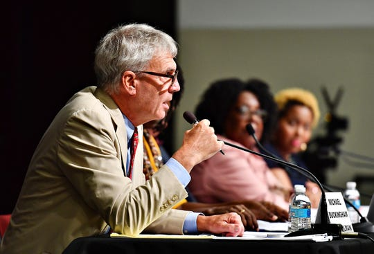 York City Council member H. Michael Buckingham speaks during a York City Council town hall meeting at Logos Academy in York City, Wednesday, Oct. 3, 2018. Dawn J. Sagert photo