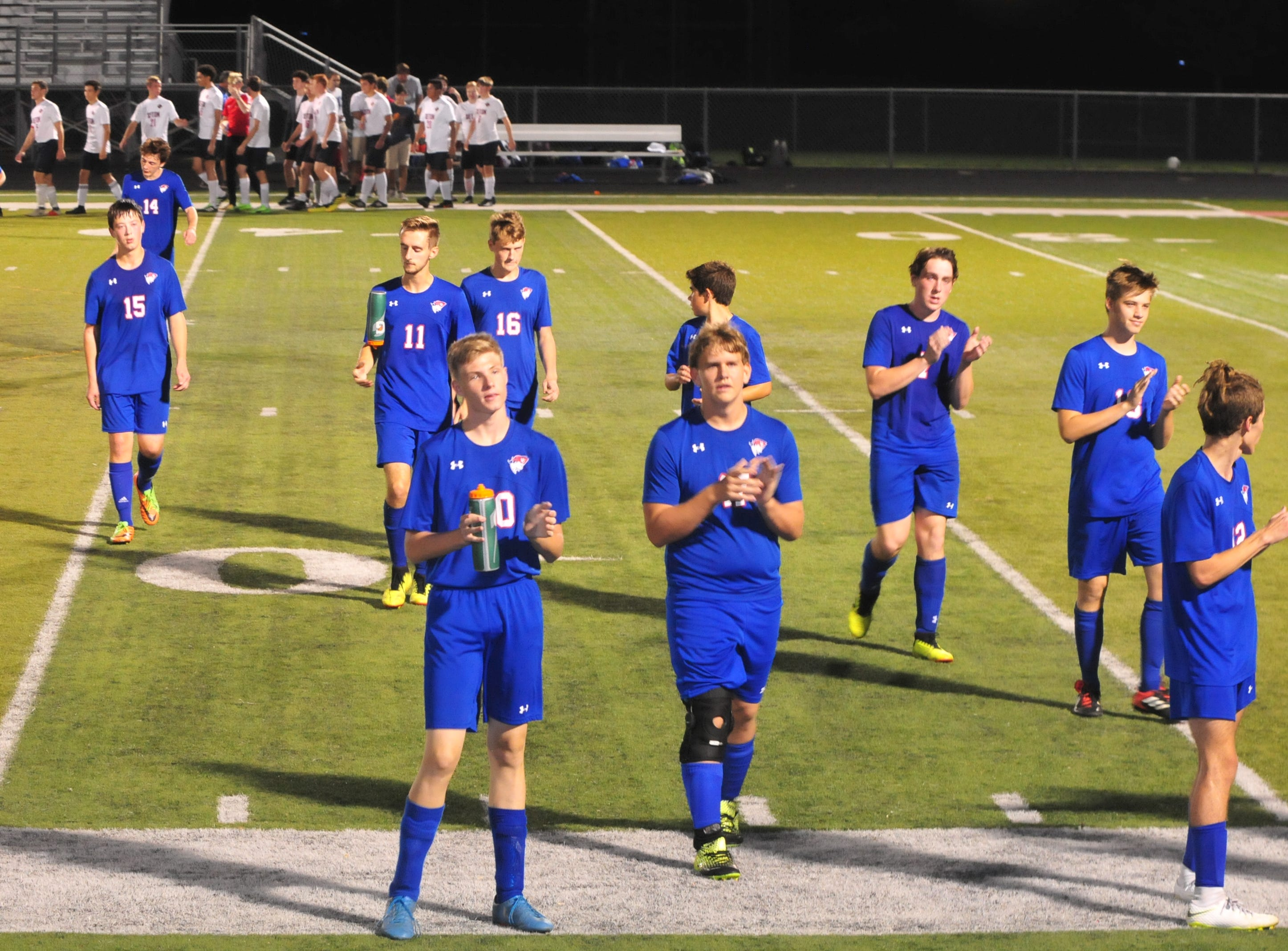 Union County's boys soccer team salutes its fans during the IHSAA Class A Sectional 42 boys soccer semifinal at Knightstown Wednesday, Oct. 3, 2018.