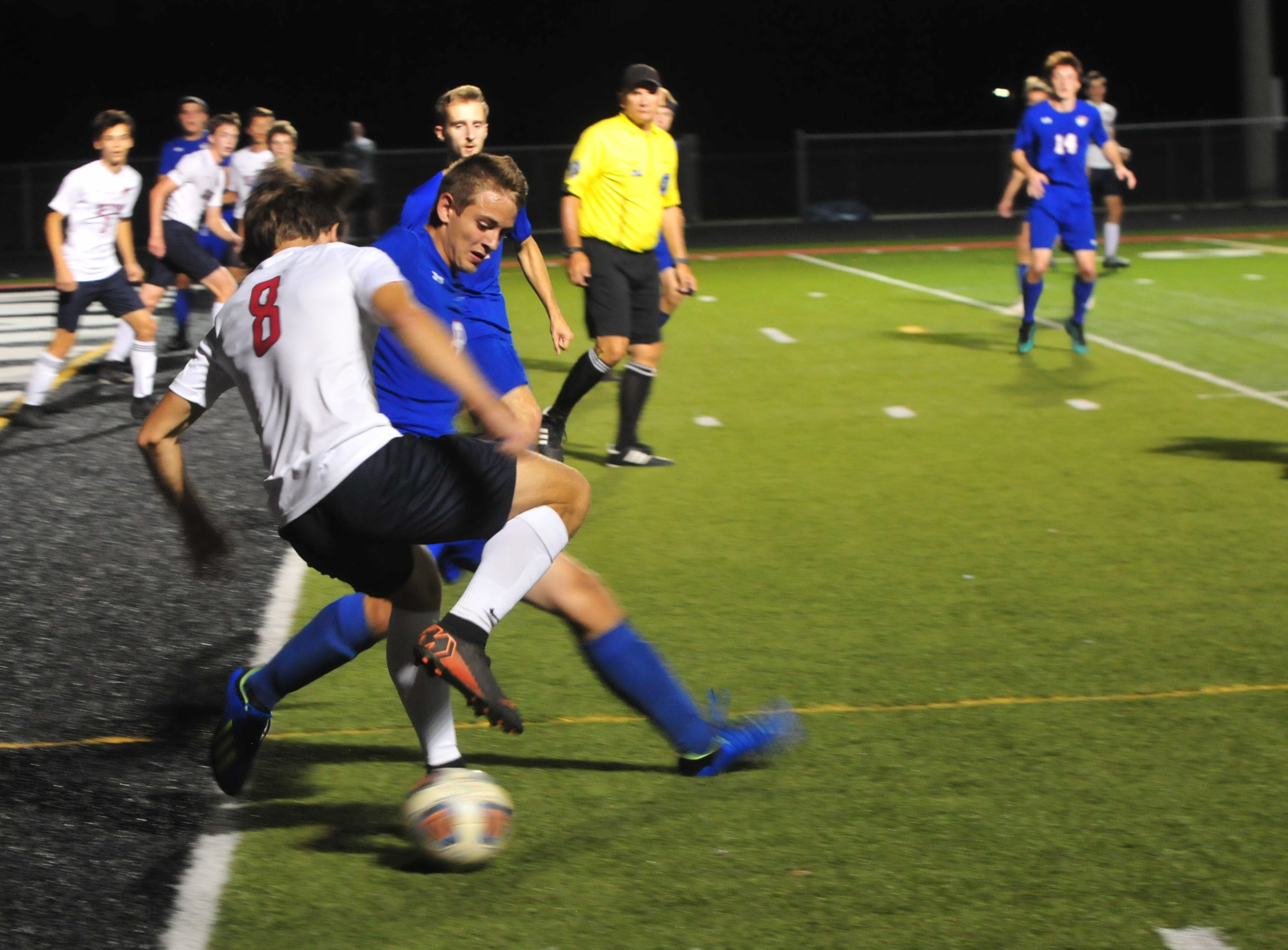 Seton Catholic's Nick Berger (left) and Union County's Brandon Olsen (right) battle for the ball during the IHSAA Class A Sectional 42 boys soccer semifinal at Knightstown Wednesday, Oct. 3, 2018.