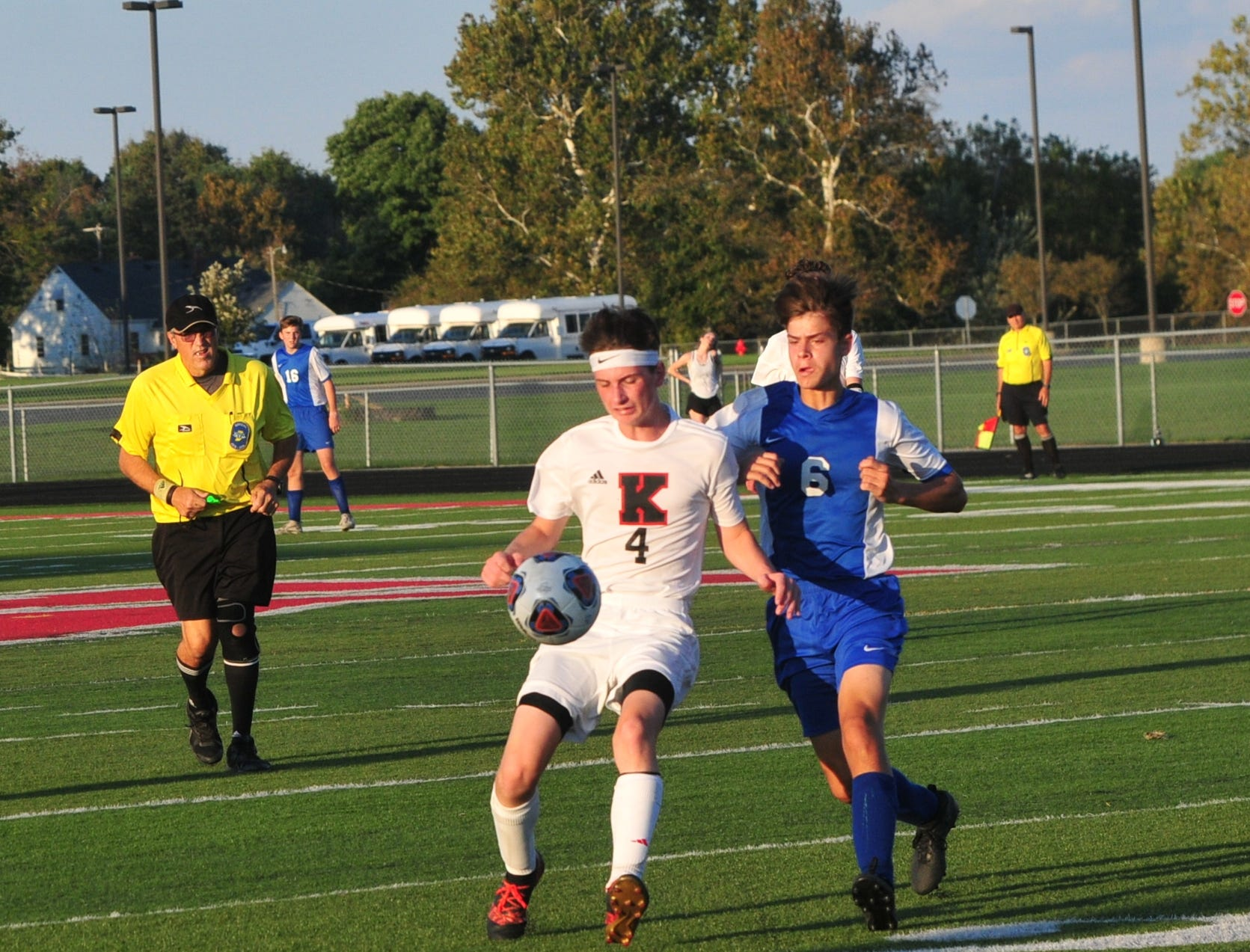 Centerville's Keegan Schlotterbeck (6) battles Knightstown's Addison Jones (4) for the ball during the IHSAA Class A Sectional 42 boys soccer semifinal at Knightstown Wednesday, Oct. 3, 2018.