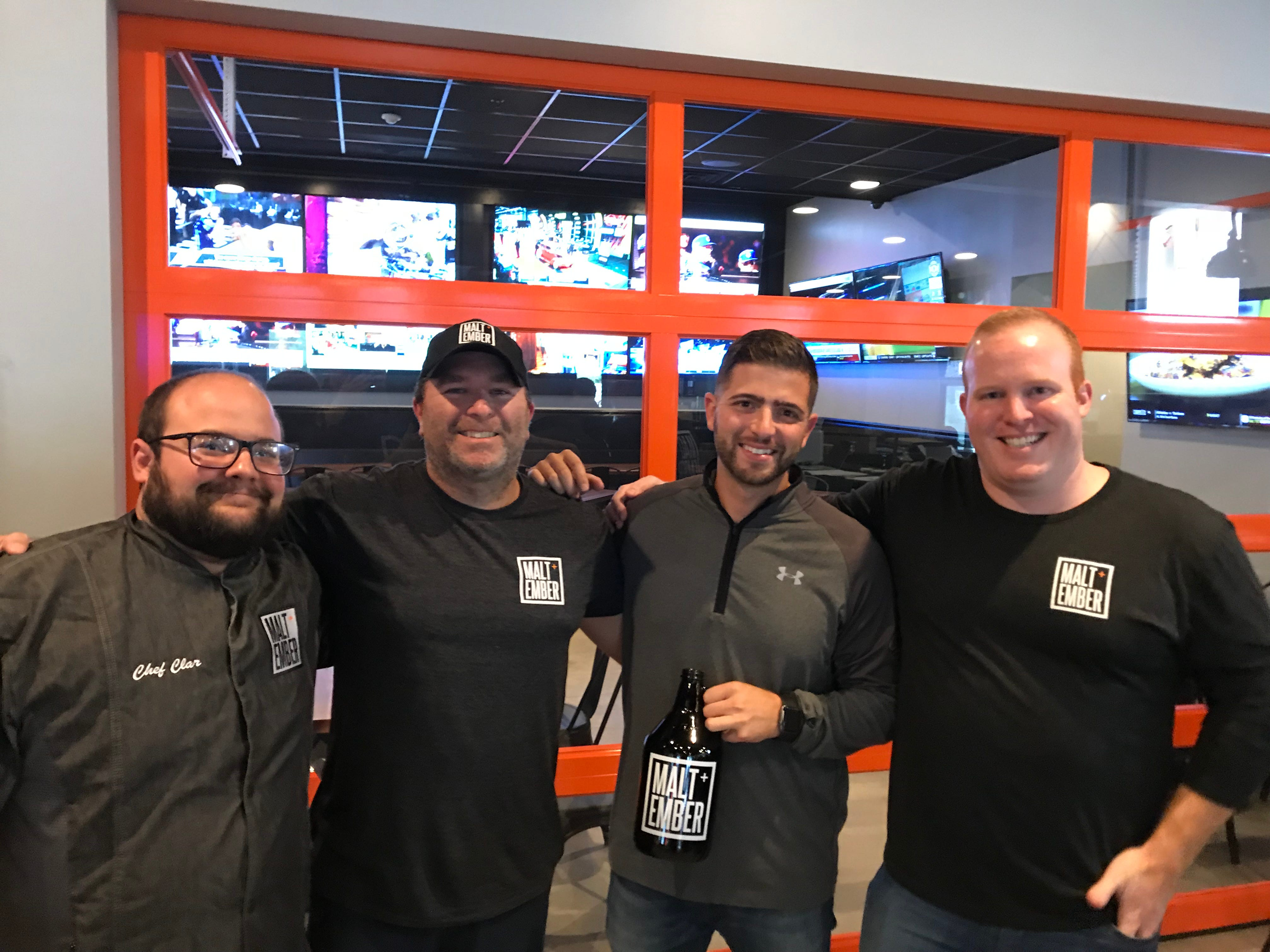 Malt + Ember owners, from left to right: Brendon Clar, Jeff Limuti, Louie Maier, and Jimmy Wilmot.
