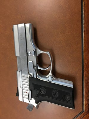 Gun seized from backpack of a ten-year-old student at Four Corners Elementary School Wednesday.