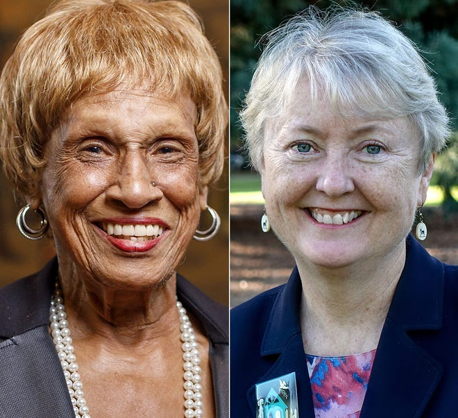 From left, Sen. Jackie Winters and challenger Deb Patterson.