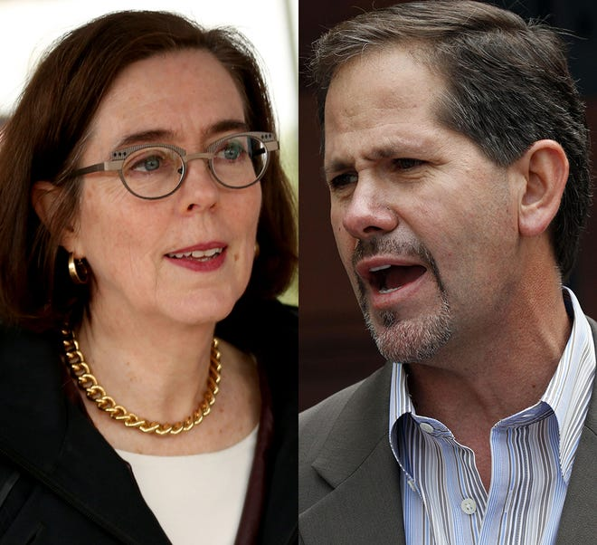 From left, Gov. Kate Brown and Rep. Knute Buehler.