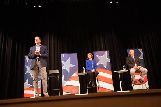 Democrat Gov. Kate Brown (left), Rep. Knute Buehler, R-Bend, and Independent Patrick Starnes pitched solutions to issues including education, mental health support and school safety in the first gubernatorial debate on Tuesday, Oct. 2, 2018 in Portland, Oregon.