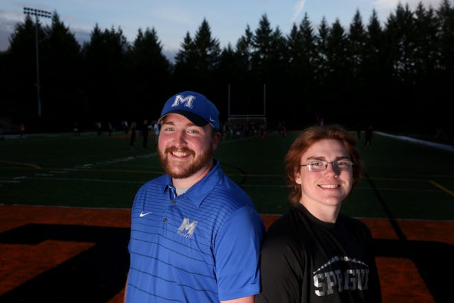 Brothers Connor Astley, left, and Matthew Astley at Sprague High School in Salem on Wednesday, Oct. 3, 2018. Connor is a 2013 Sprague graduate and now a teacher and football coach at McNary High School. Matthew is a Sprague senior tight end and linebacker. McNary football hosts Sprague on Friday.